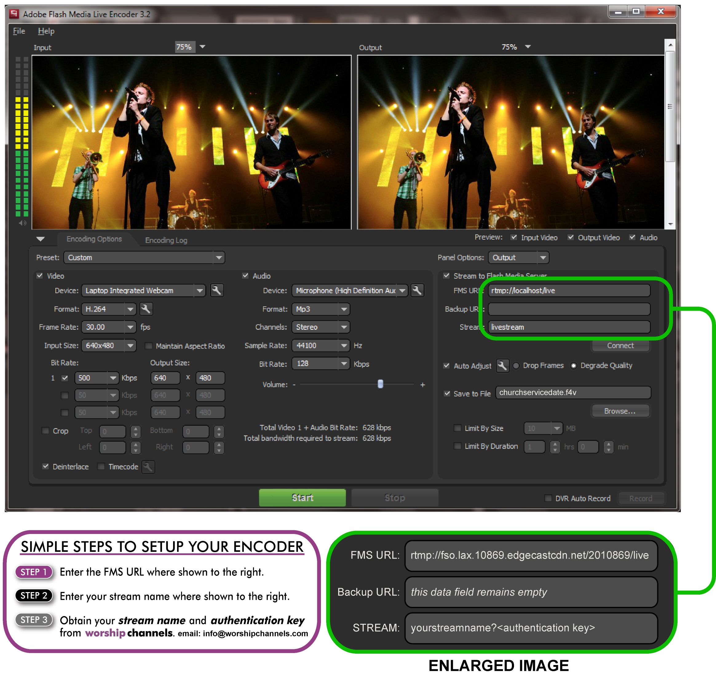 Setting up your live streaming encoder software | Worship